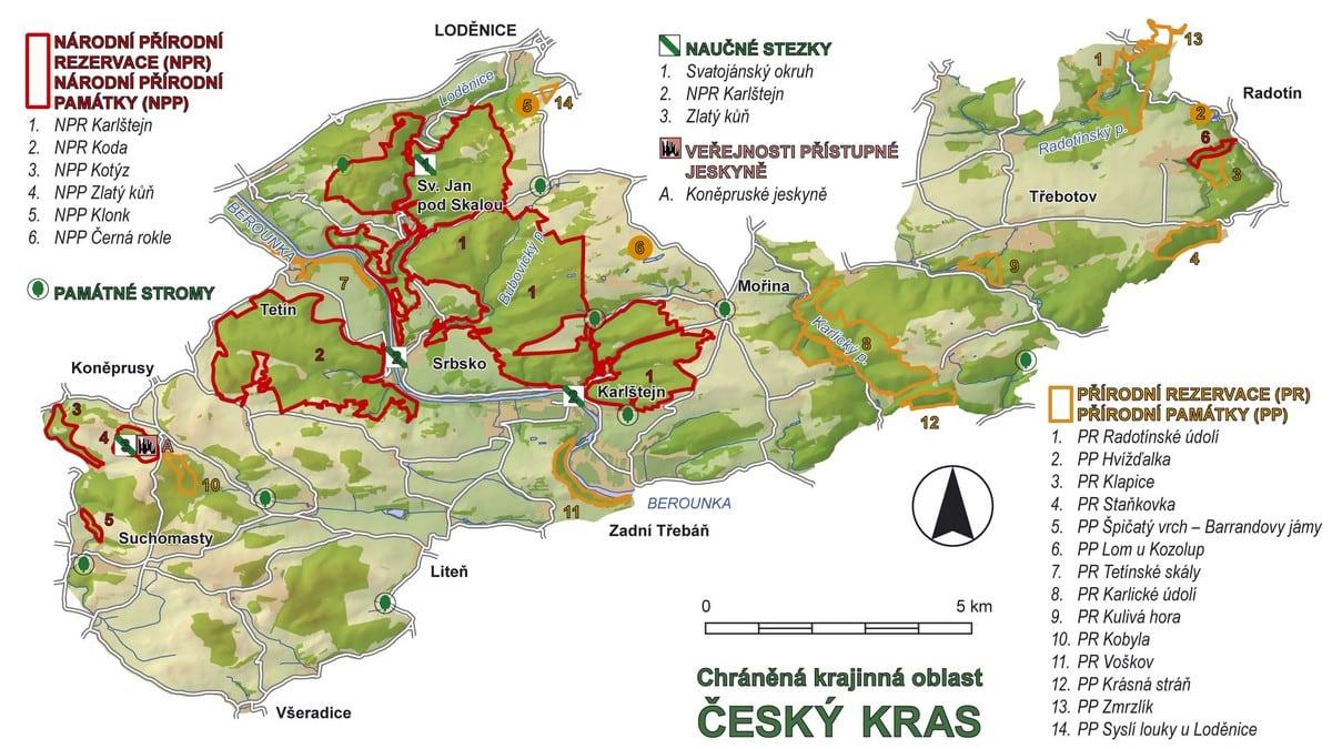 CHKO Český kras - mapa